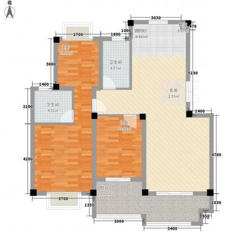 东方巴黎城2室1厅2卫0厨91.29㎡户型图