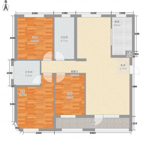 一品佳地(瓦房店)3室1厅2卫1厨134.00㎡户型图