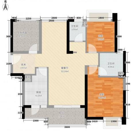 汇景御海蓝岸2室1厅2卫1厨106.00㎡户型图