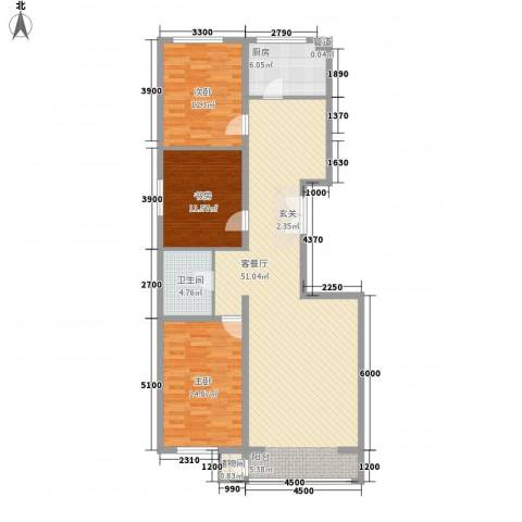 和成金都园3室1厅1卫1厨140.00㎡户型图