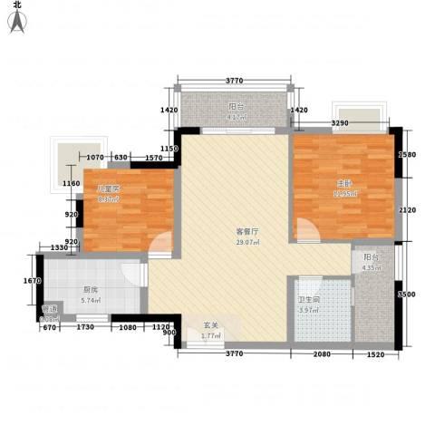 东城中心二期2室1厅1卫1厨126.00㎡户型图