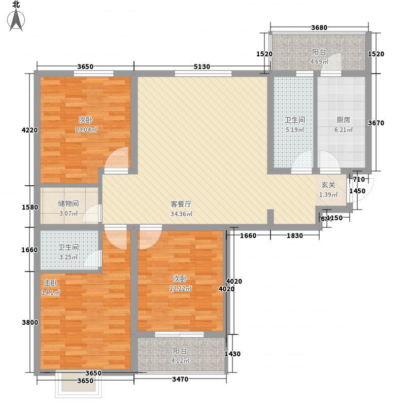 香榭里舍143.10㎡A1户型3室2厅2卫1厨