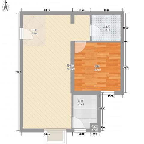 御龙庭1室1厅1卫1厨68.00㎡户型图