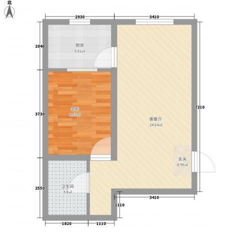 美地家园1室1厅1卫1厨62.00㎡户型图