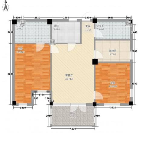 戴河庭院2室1厅2卫1厨124.00㎡户型图