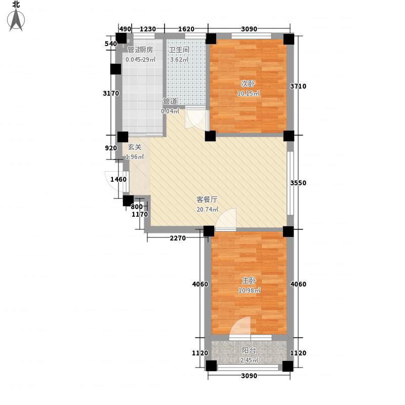 澳海澜郡76.00㎡j户型2室2厅1卫