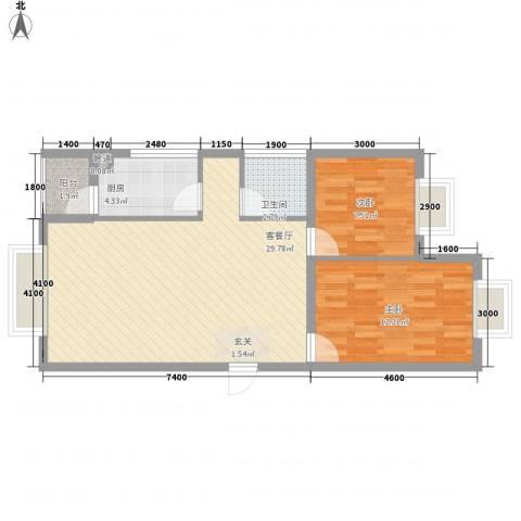 御龙庭2室1厅1卫1厨91.00㎡户型图