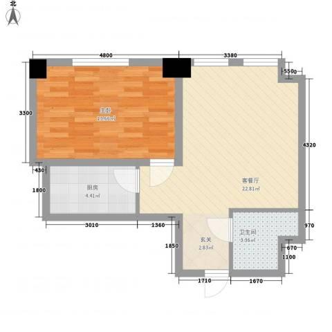 皇城壹�1室1厅1卫1厨72.00㎡户型图