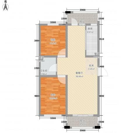 保利花园三期双河城2室1厅1卫1厨102.00㎡户型图