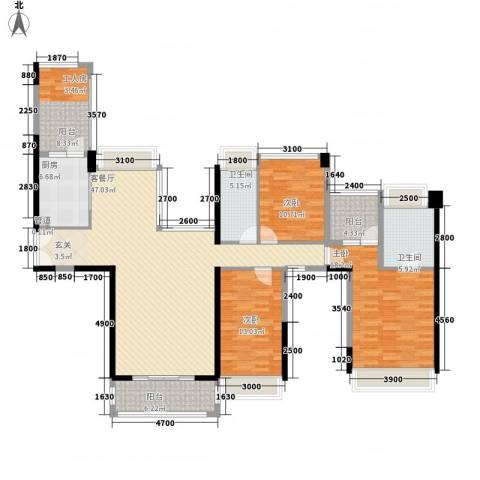 东泰花园荣华苑3室1厅2卫1厨125.70㎡户型图