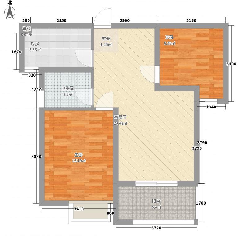 怡景新城85.25㎡Q户型2室2厅1卫