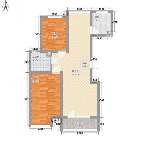 尚品名都二期2室1厅1卫1厨95.00㎡户型图