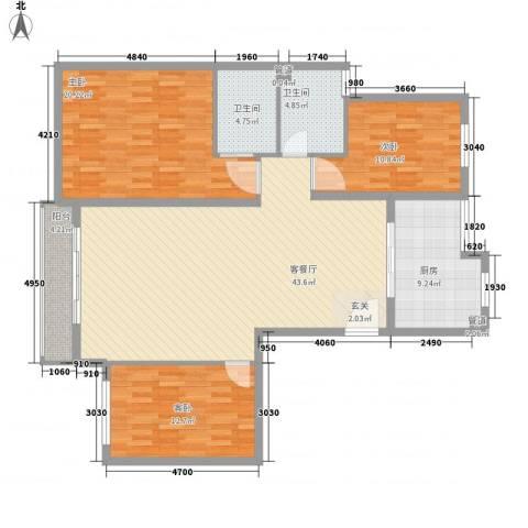 怡兰苑3室1厅2卫1厨154.00㎡户型图