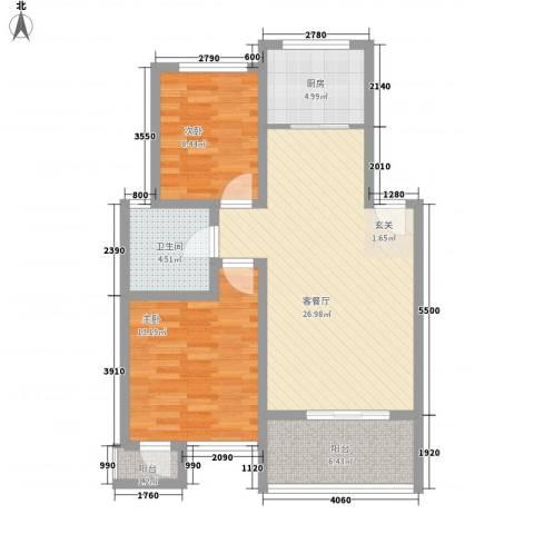 金福南苑2室1厅1卫1厨90.00㎡户型图