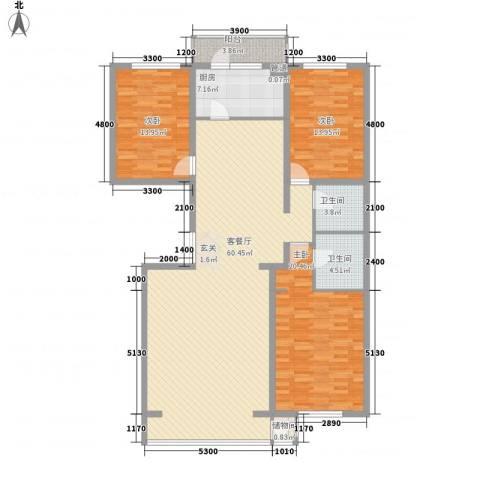和成金都园3室1厅2卫1厨175.00㎡户型图