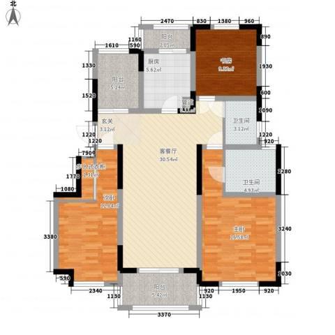 悦上海3室1厅2卫1厨113.00㎡户型图