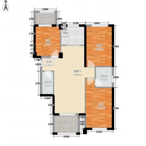 时代尊品3室1厅2卫1厨124.00㎡户型图