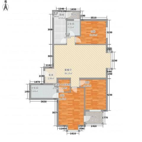 星河城四期3室1厅2卫1厨138.00㎡户型图