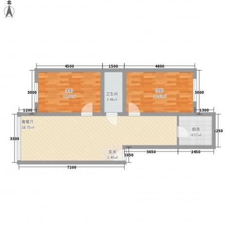 雁鸣湖山庄2室1厅1卫1厨81.00㎡户型图