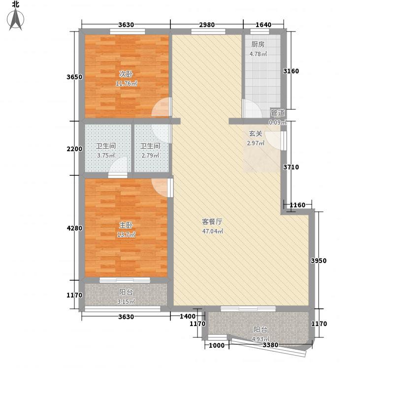 蓝星花园13.00㎡D户型2室2厅2卫