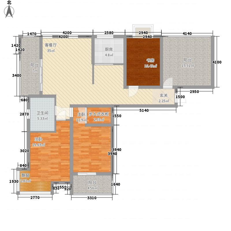 世代华府138.13㎡一期8号楼S户型3室2厅1卫1厨