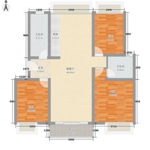 康乐公寓3室1厅2卫0厨127.00㎡户型图