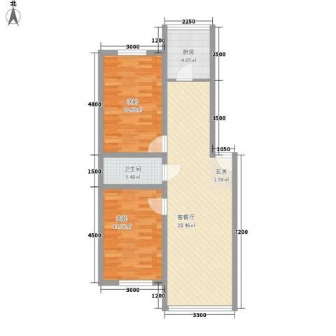 雁鸣湖山庄2室1厅1卫1厨88.00㎡户型图