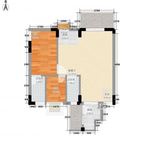 紫荆花园三期2室1厅2卫1厨50.00㎡户型图