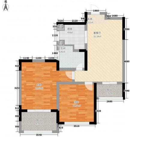 香堤澜湾二期爱琴岛2室1厅1卫1厨99.00㎡户型图