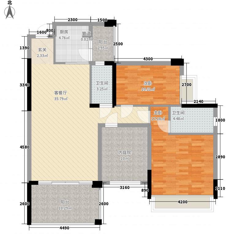 新会骏景湾豪庭115.50㎡湖光水岸12栋3-17层02单位户型2室2厅2卫1厨