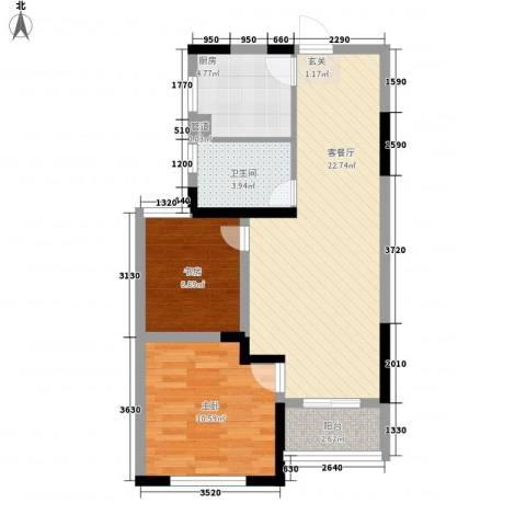 香堤澜湾二期爱琴岛2室1厅1卫1厨78.00㎡户型图