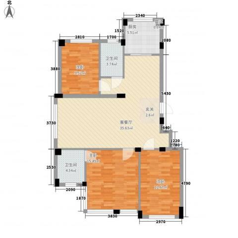 尚品名都二期3室1厅2卫1厨122.00㎡户型图