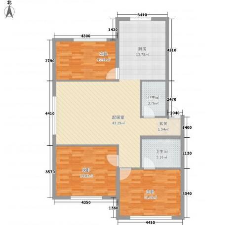 山水家园3室0厅2卫0厨125.00㎡户型图