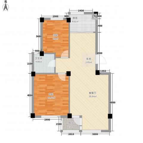 翠岛经典2室1厅1卫1厨91.00㎡户型图