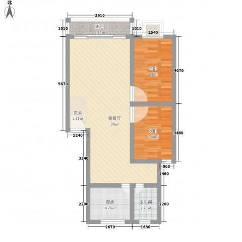 民乐花园2室1厅1卫1厨82.00㎡户型图