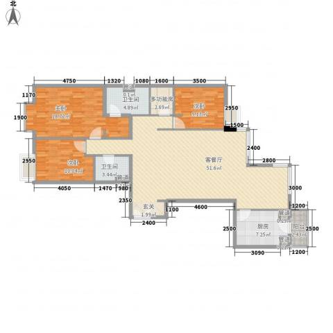 富力城D区3室1厅2卫1厨155.00㎡户型图