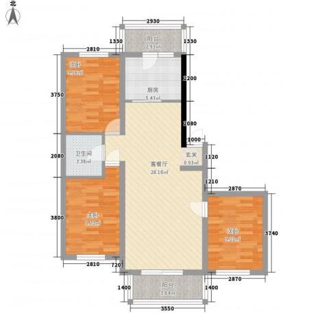 大自然家园3室1厅1卫1厨104.00㎡户型图
