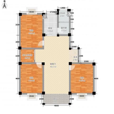 上林苑3室1厅1卫1厨129.00㎡户型图