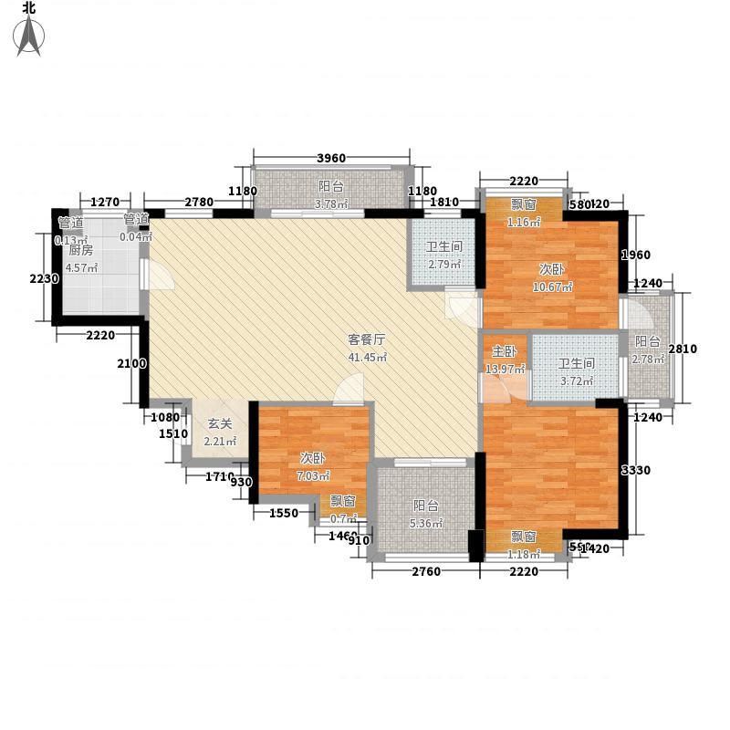 福晟钱隆时代121.30㎡3#楼01单元户型4室2厅2卫1厨