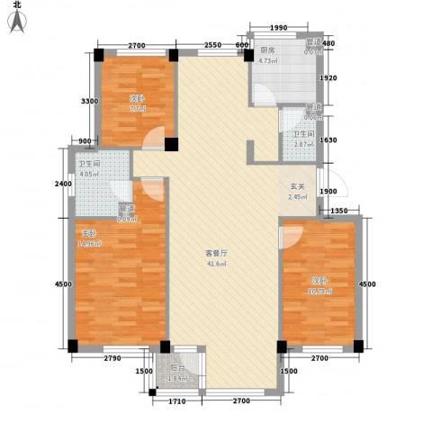 翠岛经典3室1厅2卫1厨111.00㎡户型图