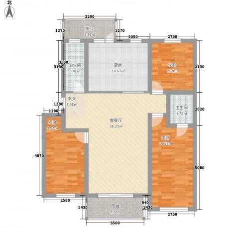 大自然家园3室1厅2卫1厨115.00㎡户型图