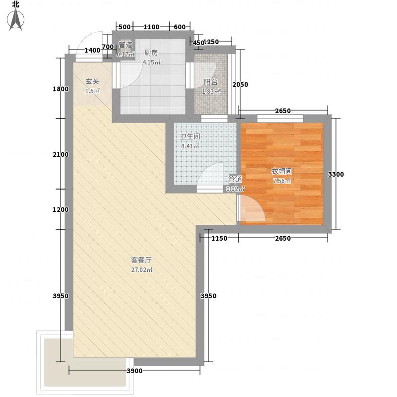 富立秦皇半岛65.80㎡18号楼C4户型1室2厅1卫1厨