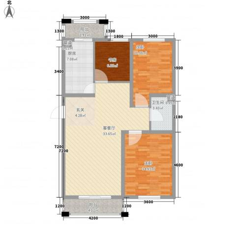保利花园三期双河城3室1厅1卫1厨108.00㎡户型图