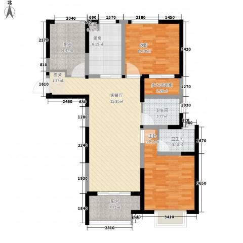 瀚林国际2室1厅2卫1厨111.00㎡户型图
