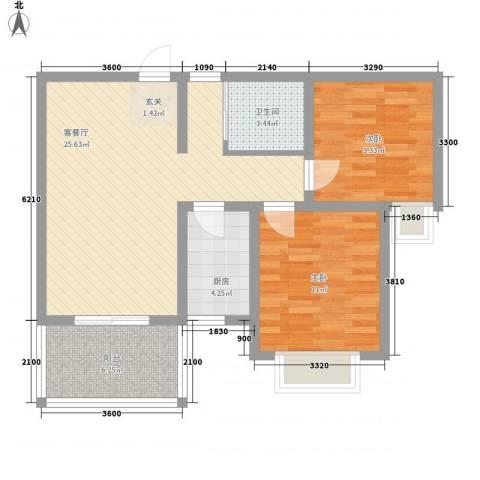 百商又一城2室1厅1卫1厨77.00㎡户型图