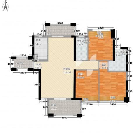 保利林语3室1厅2卫1厨121.00㎡户型图