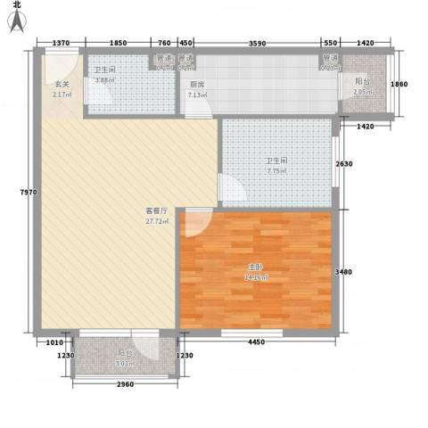 巴克寓所1室1厅2卫1厨66.15㎡户型图
