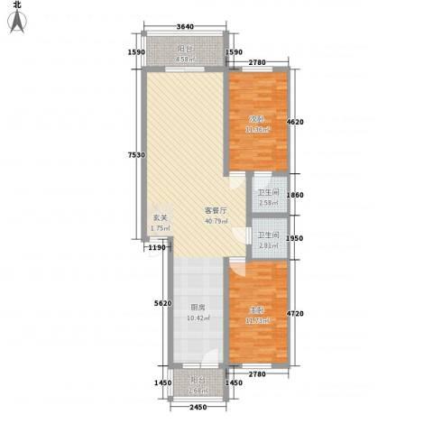 润成水云天2室1厅2卫0厨87.00㎡户型图
