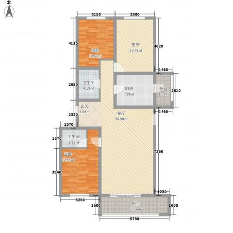华联名仕园2室2厅2卫1厨146.00㎡户型图