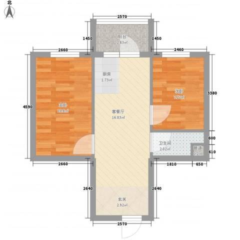 润成水云天2室1厅1卫0厨46.00㎡户型图